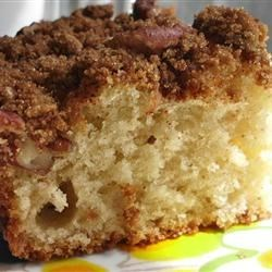 Make-Ahead Sour Cream Coffee Cake Recipe - This yummy sour cream coffee cake is chilled overnight before baking so it's all ready for you to pop in the oven for a hot, fragrant morning treat.