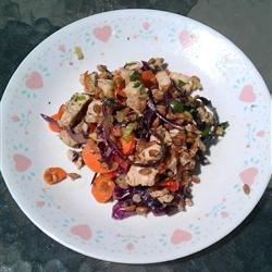 Spicy Chicken and Spelt Salad Recipe - This is a colorful and wonderfully zippy chicken and spelt salad with a spicy soy sauce dressing.