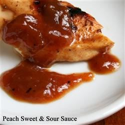 Peach Sweet and Sour Sauce Recipe - Peach preserves mixed with sherry vinegar and chicken broth, with a hint of spice and heat, combine to form this delicious sweet and sour sauce.