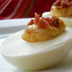 Bacon Cheddar Deviled Eggs Recipe and Video - These deviled eggs include bacon and shredded cheddar cheese.  Better than your ordinary deviled eggs.