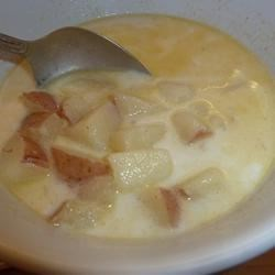 Red Potato Soup Recipe - Cubes of red potato are simmered in chicken broth and milk in this simple soup seasoned with garlic powder and celery seed.