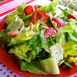 Easy and Quick Strawberry Summer Salad Recipe - A quick vinaigrette dresses this salad of mixed greens, baby cucumbers, and strawberries.