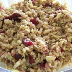 Balsamic Brown Rice Salad Recipe - Easy to make, this tangy brown rice and cranberry salad makes a great party side dish.