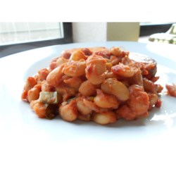 Fiery Baked Beans Recipe - Minced chipotle peppers add a spicy kick to these baked beans.
