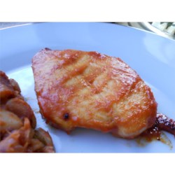 Marinated Chicken Barbecue Recipe - A horseradish-catsup marinade gives a different kind of kick to baked chicken.