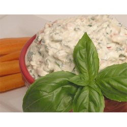 Summer Fresh Tomato Basil Dip Recipe - Fat-free cream cheese and sour cream serve as a base for this dip packed with herbs and tomato.