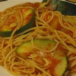 Zucchini Summer Pasta Recipe - Angel hair pasta, yellow squash and zucchini in a tomato sauce - a great way to use your surplus of summer squash.