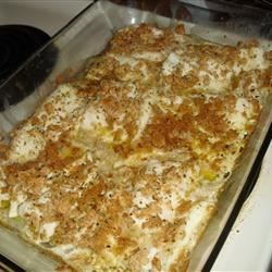 Herb-Crusted Walleye Recipe - Walleye fillets get a dip in melted butter before being coated with herb-seasoned cracker crumbs and baked.