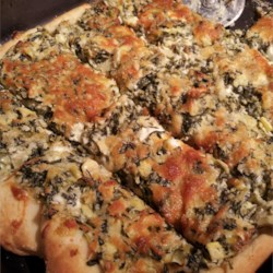quick & easy pizza crust with spinach/artichoke dip on top