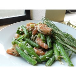 Garlic Lover's Shrimp and Green Bean Salad Recipe - Marinated shrimp and green beans come together in a garlic rosemary sauce to create an unforgettable salad. This dish is great for entertaining, since it is even more delicious the next day.
