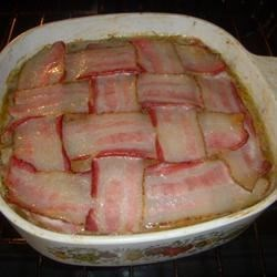Meatloaf with lattice bacon!