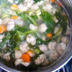 Party Italian Wedding Soup Recipe - A large batch of traditional Italian Wedding soup. This soup offers plenty of meat, carbohydrates and veggies. Perfect with Italian bread. For the pasta, I use acini di pepe, but you could use any small shape you desire, like shells or orzo.