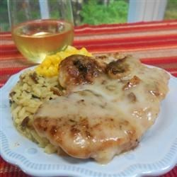 Baked Pork Chops I Recipe - Pork chops are coated with seasoned Italian crumbs and baked with an easy mushroom and wine sauce for for a nice weeknight dinner that practically takes care of itself.