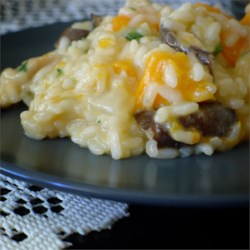 Butternut Squash and Shiitake Mushroom Wild Rice Risotto Recipe - A pretty fall risotto with lots of color and texture. This dish makes a great meatless main course or an elegant side dish.