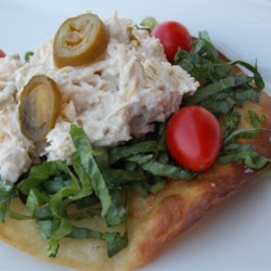 Twisted Chicken Salad with Tostadas Recipe - This easy chicken salad includes diced jalapenos, which make it spicy and delicious. You can eat it with crackers, but it tastes much better with tostadas.