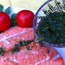 Asian Lime and Cilantro Sauce For Salmon Recipe - This Asian-inspired sauce is perfect for topping your favorite baked, fried, or grilled fish.