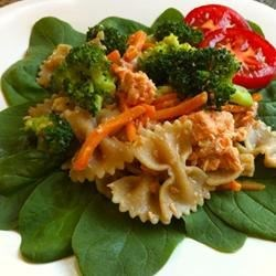 Delicious Salmon Pasta Salad Recipe - This yummy salad features salmon, fresh vegetables, and a delicious dressing! I created this recipe myself! This is very easy. Anybody can make it!
