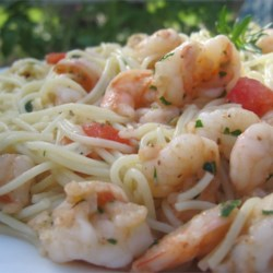 Lemony Garlic Shrimp with Pasta Recipe - Brining the shrimp improves both the taste and texture of this shrimp scampi.