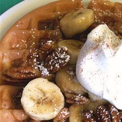 Bananas Foster Belgian Waffles Recipe - As a special treat for my mother, I created this recipe, which includes one of her favorite desserts and one of her favorite breakfast items. The banana topping is also great on French toast.