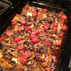 Chicken As You Like It Recipe - Chicken bathed in tangy onion sauce and topped with mushrooms and tomatoes.