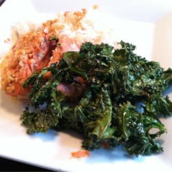 Kale Chips Recipe - Crispy baked kale is seasoned with vinegar and salt in this snack recipe.