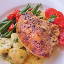 Chicken Breasts with Herb Basting Sauce Recipe - Sage and other herbs infuse a classic basting sauce for simple baked chicken.