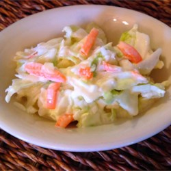 Cindy's Coleslaw Recipe - A simple and traditional coleslaw made with precut cabbage, mayonnaise, and apple cider vinegar.