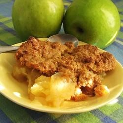 Apple Crisp III Recipe - No oats in this simple apple crisp -- just cinnamon spiced apples covered in a lightly sweet, buttery crust.