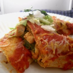 Turkey Pumpkin Enchiladas Recipe - Turkey and pumpkins, both natives of Mexico, make perfect partners in these hearty enchiladas topped with chipotle-tomato sauce and cheese. This is a great way to use up leftover turkey, and a great excuse to make a turkey -- even if it isn't Thanksgiving.
