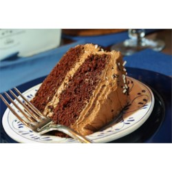 Devil's Food Cake I Recipe - This is an old-fashioned, but easy-to-make devil's food cake recipe.  Pound cake like texture and sinfully chocolately.  This is from an old Philadelphia Bakery. Great when frosted with Chocolate Fudge Buttercream Frosting.