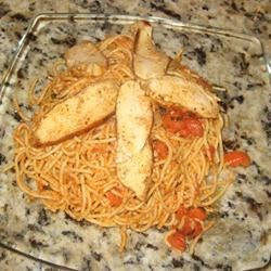 Basil Chicken over Angel Hair