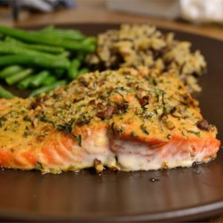 Baked Dijon Salmon Recipe - Salmon fillets brushed with honey and Dijon mustard, coated with bread crumbs and baked.