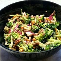 Andrea's Broccoli Slaw Recipe - Broccoli and carrots are tossed with a blue cheese-based dressing for a different and colorful twist on the traditional slaw recipe. Bring to your next potluck or picnic!
