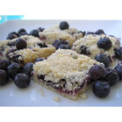 Blueberry Shortbread Bars Recipe - Buttery shortbread is baked in a pan topped with blueberries and shortbread crumbles for quick and easy bar cookies.