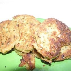 Fried Green Tomatoes II Recipe - White sugar and crumbled bread crumbs coat the tomatoes in this version.
