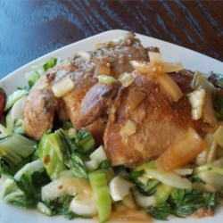 Slow Cooker Adobo Chicken with Bok Choy Recipe - This is a slow cooker version of a classic dish from the Philippines using chicken thighs, bok choy, apple cider vinegar, onion, and garlic.