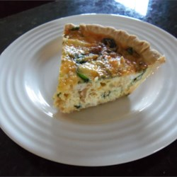 Spinach Quiche with Chicken Recipe - Store-bought pie crust makes this versatile quiche a snap to put together. Ham, bacon, or shrimp would work well in place of the chicken.