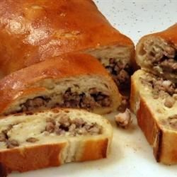 Italian Bread Stuffed with Sausage and Cheese