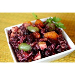 No Cook Cranberry Salad Recipe - A jazzed up cranberry sauce with green grapes, mandarin oranges, coconut flakes, walnuts, apples, and a touch of vanilla.