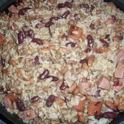Ground Beef and Sausage in Red Beans and Rice Recipe - My current version of a classic recipe here is still a work in progress, but it's a pretty good one. This is a meal in itself, and tastes even better the next day when reheated.