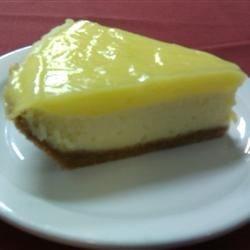 cream cheese pie with a lemon curd top