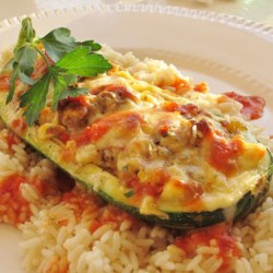 Stuffed Zucchini Recipe and Video - This delicious stuffed zucchini recipe can be served as either a sidedish or a maindish.