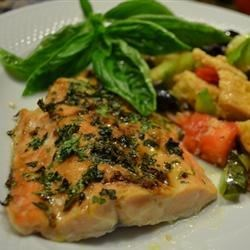 Mediterranean Salmon Recipe - This is a great recipe for salmon incorporating Mediterranean ingredients and spices. Everyone I've made this for loved it!!