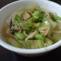 My Chicken Pho Recipe Recipe - Here's a great home version of the traditional Vietnamese dish, pho.  Just stir chicken, bok choy, and bean sprouts into aromatic infused chicken stock and serve over hot noodles.