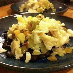 Bacalao with Black Beans and Green Olives