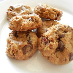 Whole Grain Breakfast Cookies Recipe - Breakfast cookies made with whole grains like rolled oats, flax meal, and whole wheat flour have the flavor of dried cherries and chocolate chips for a tasty breakfast on the run.