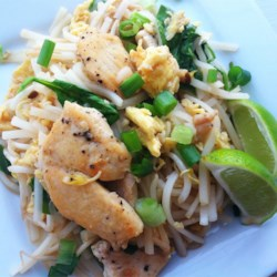 Joe's Fusion Chicken Pad Thai Recipe - This chicken pad Thai's creative ingredients like peanut butter put a spin on the traditional Thai flavors.