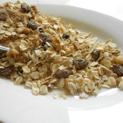 Muesli Recipe and Video - Eat your muesli! If you've never tried this granola-like breakfast treat, this is a great recipe. Lots of bran and oats and raisins and nuts, with just enough brown sugar to add a bit of sweetness. Serve as is with soy milk, or plop the bowl in the microwave and eat it warm.