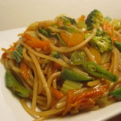Quick Shrimp Lo Mein Recipe - Soy sauce and oyster sauce make the sauce for this shrimp and vegetable pasta dish.