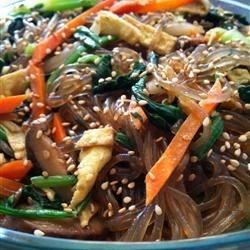 Chap Chee Noodles Recipe - Stir-fried beef sirloin, Napa cabbage, spinach, and other veggies are tossed with bean thread noodles in this classic Korean dish.